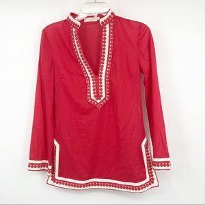 Tory Burch embroidered long sleeve V-neck tunic